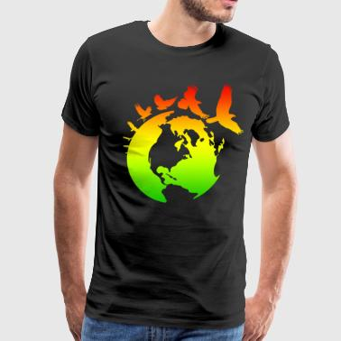 Mother Earth with Birds - Men's Premium T-Shirt