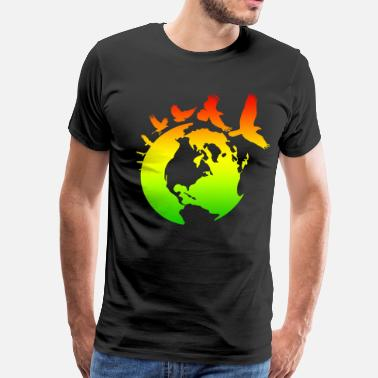 Rasta Bird Mother Earth with Birds - Men's Premium T-Shirt