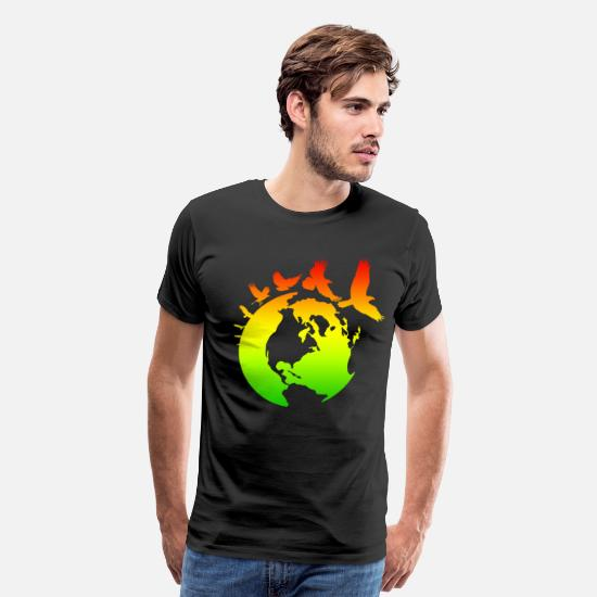 Mother T-Shirts - Mother Earth with Birds - Men's Premium T-Shirt black