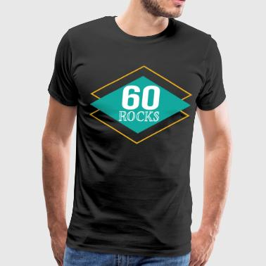 60th Birthday Retro 60 Rocks - Men's Premium T-Shirt