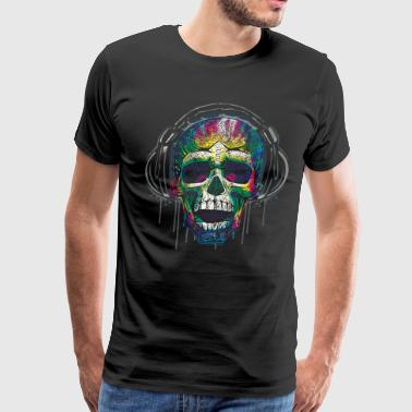 Drip Dripping Skull Headphones - Men's Premium T-Shirt