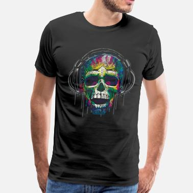 Headphone Dripping Skull Headphones - Men's Premium T-Shirt
