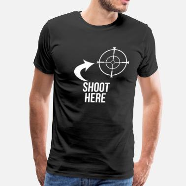 Air Rifle Shooting SHOOT HERE HEART SNIPER TARGET RIFLE SCOPE - Men's Premium T-Shirt