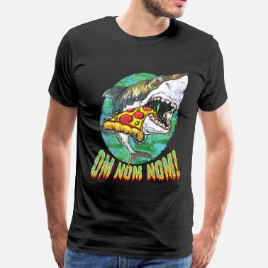 Funny Great White Shark Pizza - Men's Premium T-Shirt