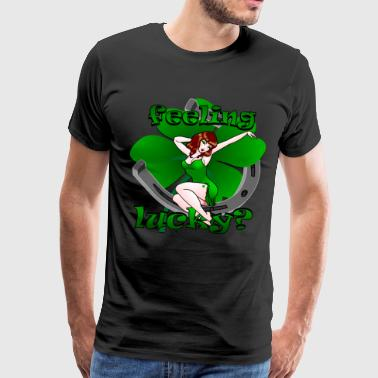 Betty Page St Patrick's Lucky Pin Up Girl Art - Men's Premium T-Shirt