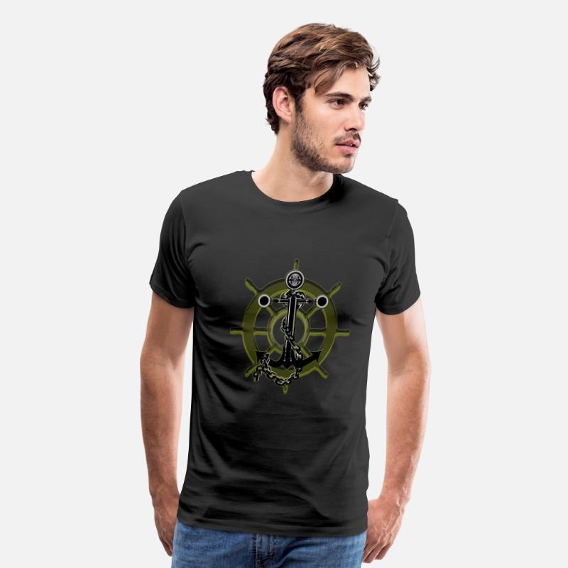 Humor T-Shirts - Anchor And Ship Wheel In Yellow  - Men's Premium T-Shirt black