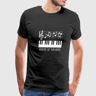Piano Keys and White Musical Notes - Men's Premium T-Shirt