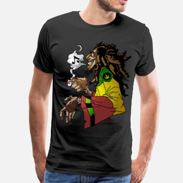 Leaf Rasta Weed and Music - Men's Premium T-Shirt