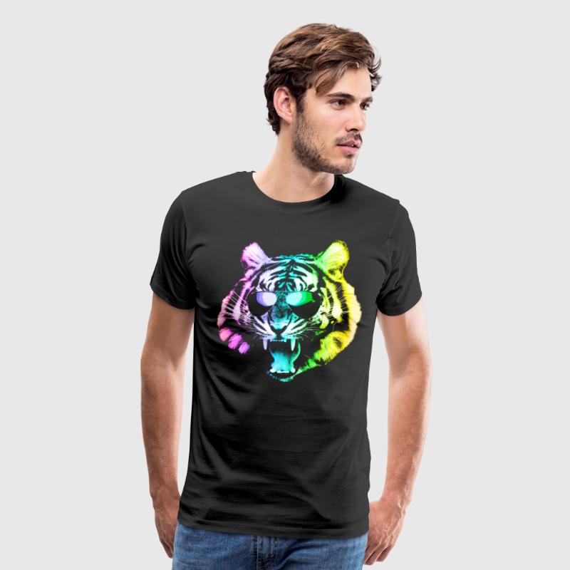 Big Rainbow Tiger with Glasses - Men's Premium T-Shirt