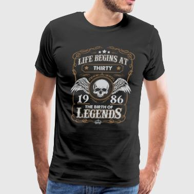 Life Begins At 1986 30 Years Old Birthday T-Shirt - Men's Premium T-Shirt