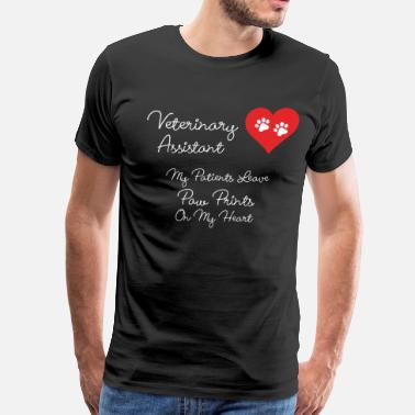 Veterinary Assistant Veterinary Assistant Paw Prints on My Heart TShirt - Men's Premium T-Shirt