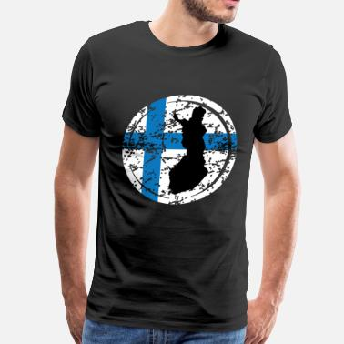 Place Of Residence Finland Flag with Map - Men's Premium T-Shirt