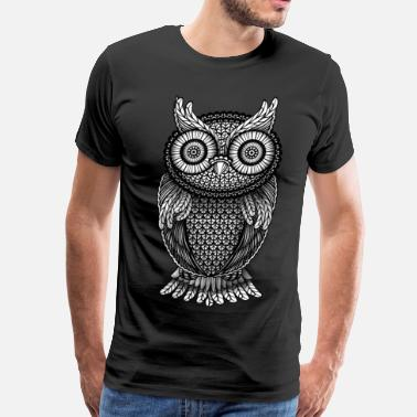 White Owl ornamental Owl Design black and white - Men's Premium T-Shirt