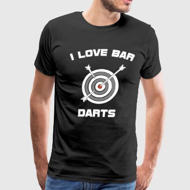 I Love Bar Darts Bar Hopping Indoor Sports T-Shirt - Men's Premium T-Shirt