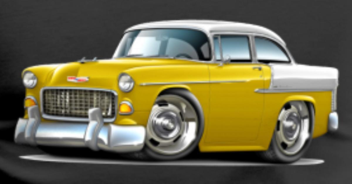 1955 Chevy Belair Yellow Car Mens Premium T Shirt Spreadshirt