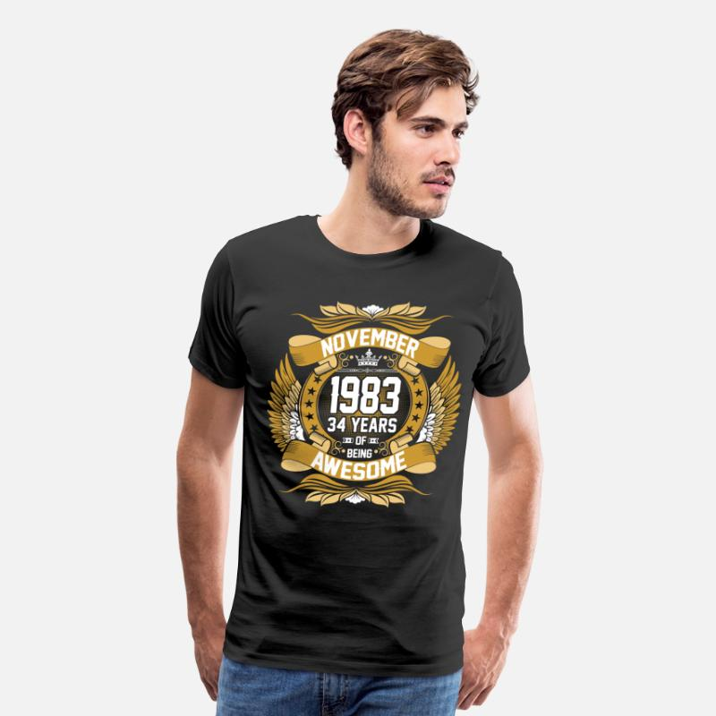 1983 T-Shirts - November 1983 34 Years Of Being Awesome - Men's Premium T-Shirt black
