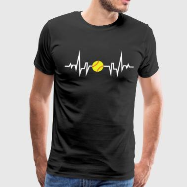 Softball Player Heartbeat EKG T-Shirt - Men's Premium T-Shirt