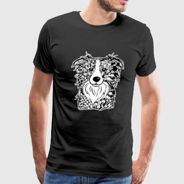 Border Collie Face Graphic Art T-Shirt - Men's Premium T-Shirt