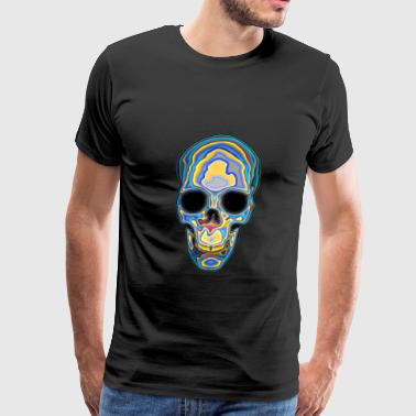 Psychedelic Colored Trippy Skull Design - Men's Premium T-Shirt