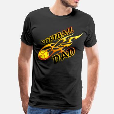 Softball Dad Clothes Softball Dad Ball On Fire - Men's Premium T-Shirt