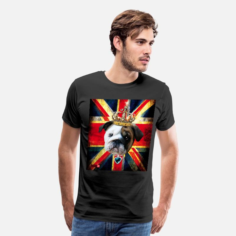 Flag Animals T-Shirts - 50 English Bulldog Baby Bully Union Jack UK Flag - Men's Premium T-Shirt black