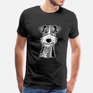 Wire Wire Fox Terrier Face Graphic Art T-Shirt - Men's Premium T-Shirt