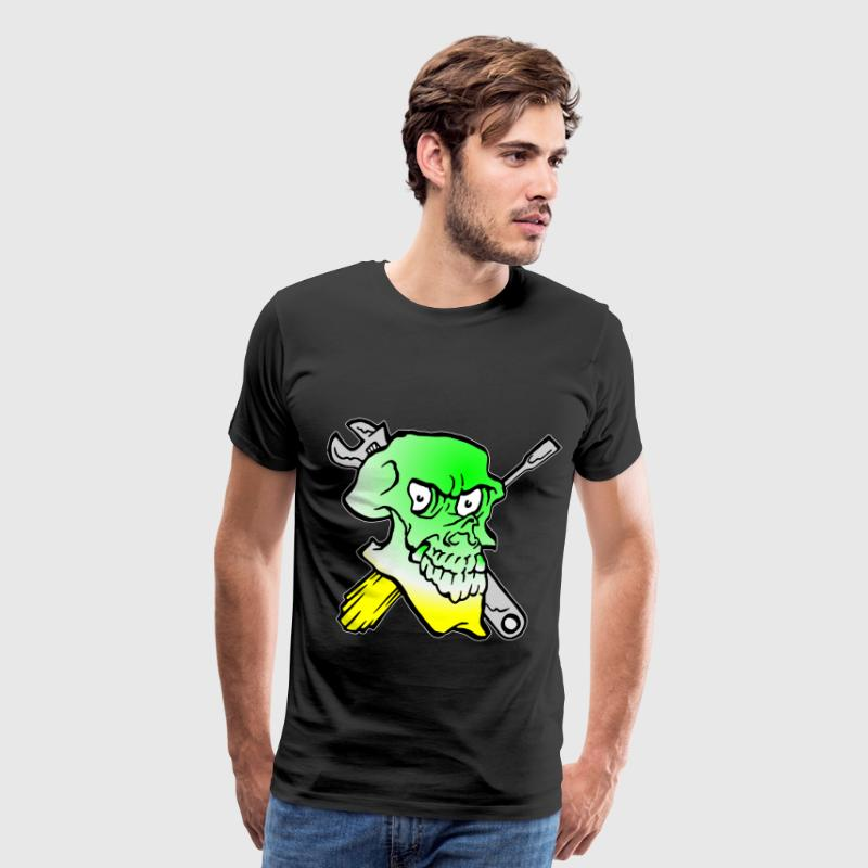 Green Skull Tattoo Mechanic Wrench  - Men's Premium T-Shirt
