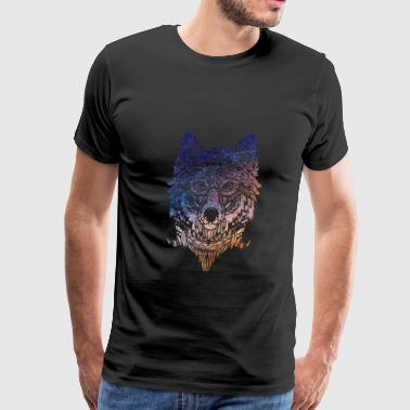 Tribal Wolf Paint Translucent   - Men's Premium T-Shirt
