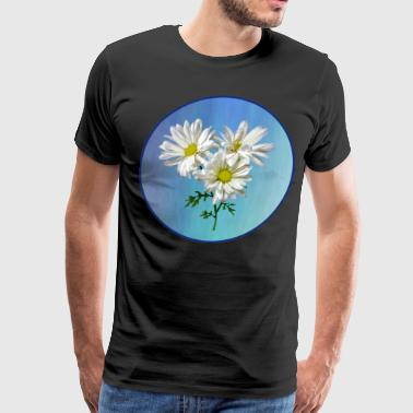 Three White Daisies w Background - Men's Premium T-Shirt