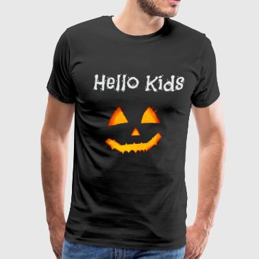 Kids Pumpkin Halloween Pumpkin Funny Hello Kids - Men's Premium T-Shirt