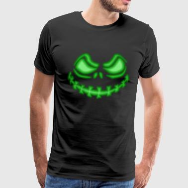 Happy Face Halloween pumpkin face green - Men's Premium T-Shirt