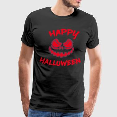 Creepy Spooky Halloween pumpkin evil green horror fear - Men's Premium T-Shirt