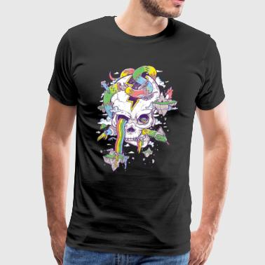 Flying Rainbow skull Island - Men's Premium T-Shirt