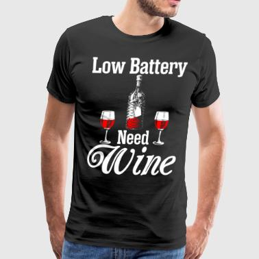 Low Battery Need Wine Christmas - Men's Premium T-Shirt