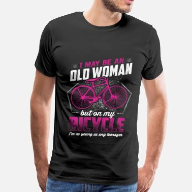 Gt Bicycles old woman on bicycle - Funny - Men's Premium T-Shirt