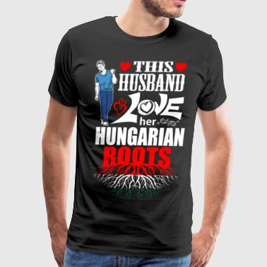 This Husband Loves her Hungarian Roots - Men's Premium T-Shirt