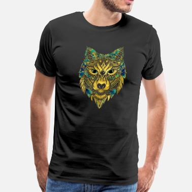 Celtic Wolf Tribal Wolf - Gold and Marble Decorated - Men's Premium T-Shirt
