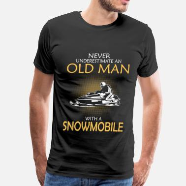 Snowmobiling Polaris Old man with a snowmobile - Never underestimate - Men's Premium T-Shirt