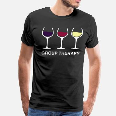 Group Therapy Wine Drinking Funny Gift - Men's Premium T-Shirt