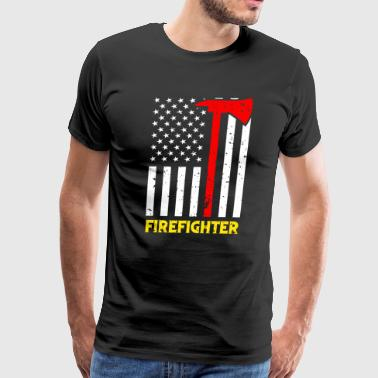 Firefighter Kids Firefighter Flag Axe Thin Red Line USA Flag TShirt - Men's Premium T-Shirt