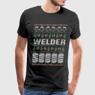 Ugly Christmas Welder Drinking Beer Welder Ugly Christmas Sweater - Men's Premium T-Shirt