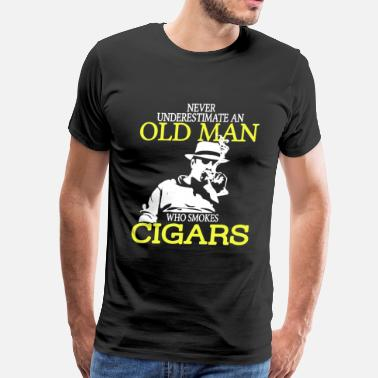 Cigar Old Man Who Smokes Cigars - Men's Premium T-Shirt