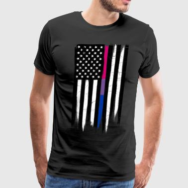 Lines Strokes Bisexual Thin Line American Flag - Men's Premium T-Shirt