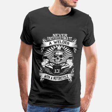 Akira Kaneda Motorcycle Welder with a motorcycle - Never underestimate - Men's Premium T-Shirt