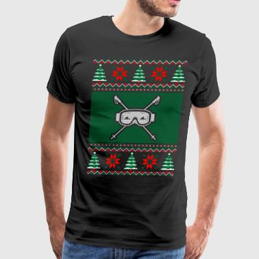 Skiing Ugly Christmas Sweater - Men's Premium T-Shirt