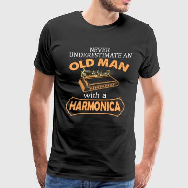 Harmonica Old Man With Harmonica - Men's Premium T-Shirt