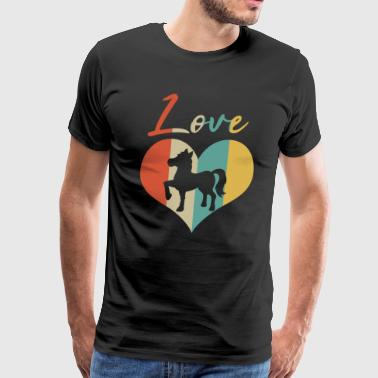 Foal Horse & Pony Retro Heart Love Gift & Present - Men's Premium T-Shirt