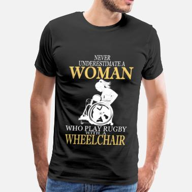 Wheelchair WHEELCHAIR WOMAN LOVE RUGBY - Men's Premium T-Shirt