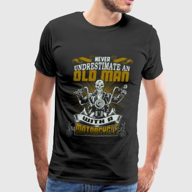 Old School Motorcycle Designs Motorcycle - An old man with a motorcycle - Men's Premium T-Shirt