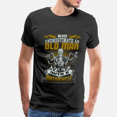Cock Racing Motorcycle - An old man with a motorcycle - Men's Premium T-Shirt